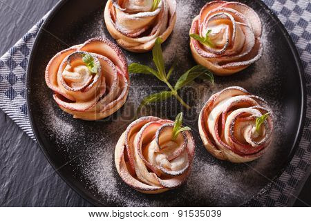 Beautiful Food: Rose Out Of An Apple Horizontal Top View