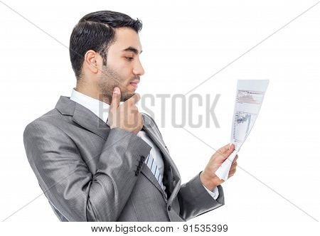 Businessman Reading - Looking Papers, Isolated On White. Profile Shot