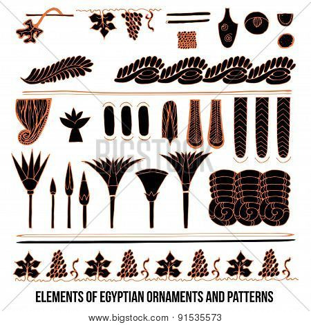 Elements of Egyptian ornaments and patterns
