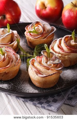 Delicious Apple Cake In The Form Of Roses Vertical Close-up