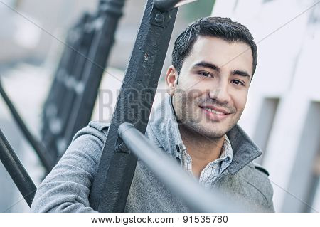 Close-up Of A Happy Smile Man Wearing Coat, Coldly Morning. Autmn Day
