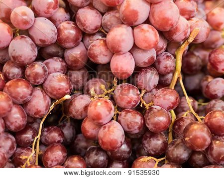 Bunches Of Grapes On Display At Market