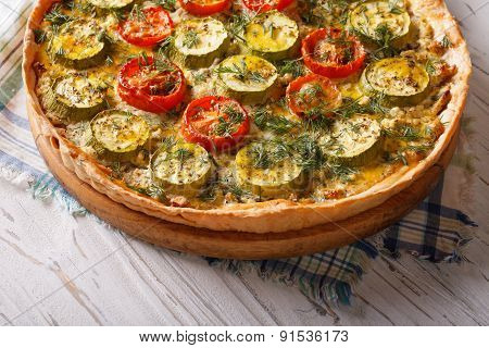 Rustic Vegetable Quiche With Cheese Tomatoes And Zucchini