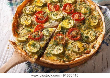 Homemade Sliced Vegetable Quiche With Zucchini Closeup.