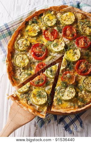 Quiche With Tomatoes And Zucchini Closeup. Vertical Top View