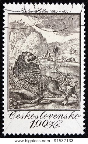 Postage Stamp Czechoslovakia 1975 The Lion And The Mouse, Engraving
