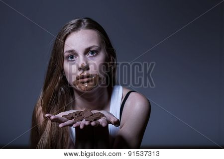 Girl During Bulimic Attack