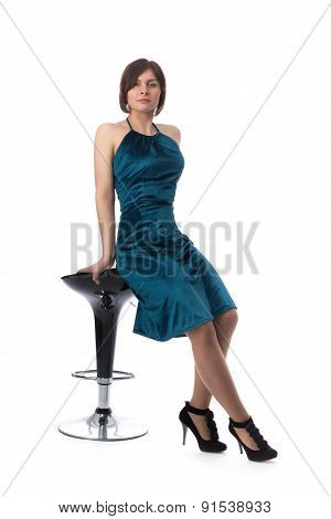Girl On A Bar Chair In The Studio, Isolate