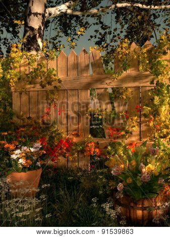 Broken Garden Fence, 3D Cg