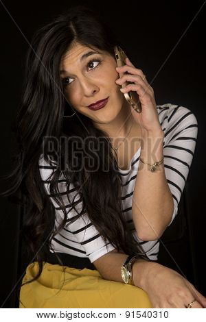 Pretty Woman Annoyed Expression Talking On Her Cell Phone
