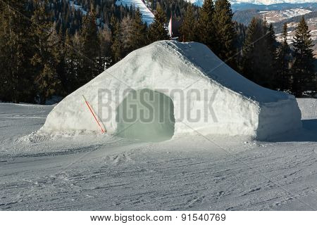 Frozen Tunnel, Snowpark In Dolomites Mountains