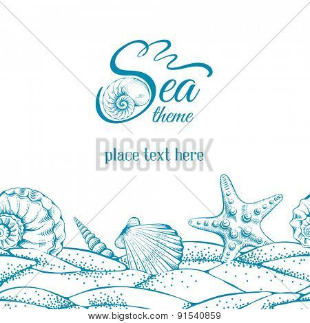 Summer sea background with sand, seashells and sea star. Vector. Drawn in technique etching.