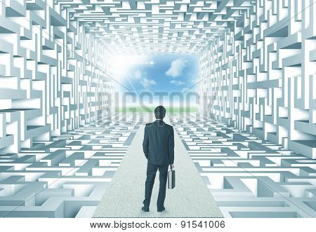 Successful businessman in front of a complicated labyrinth