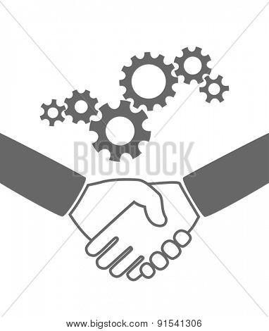handshaking icon teamwork - gears industrial concept