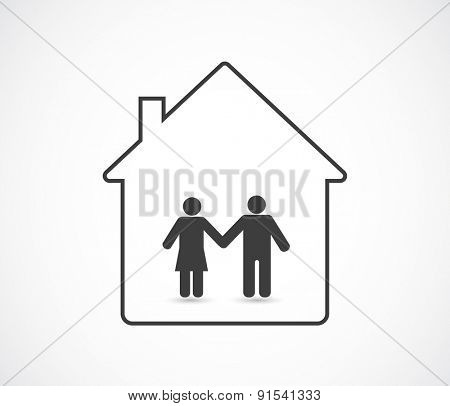 man and woman family icon in house concept