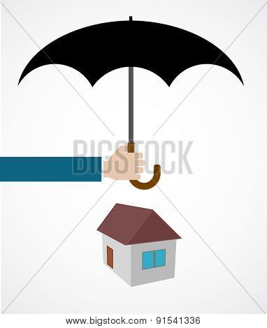 hand with umbrella cover house icon concept