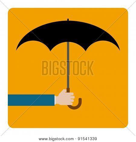 hand keeps umbrella - concept icon design
