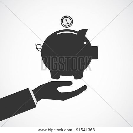 hand support piggy bank concept business background