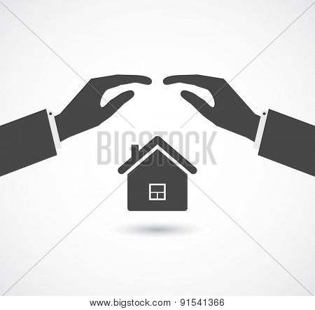 insurance concept - hands cover house icon design