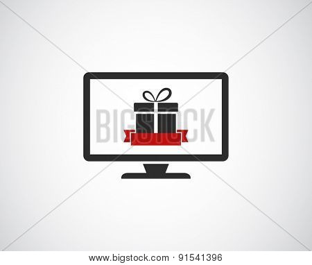 monitor with gift icon banner design