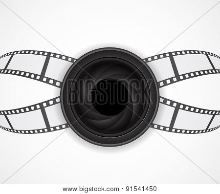 camera lens icon with film strip abstract background design