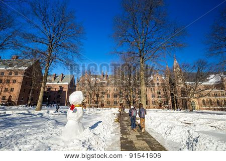 Yale University Buildings In Winter After Snow Storm Linus