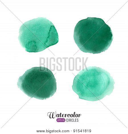 Watercolor emerald circles set
