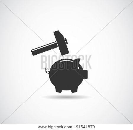 piggy bank broken with hammer icon concept