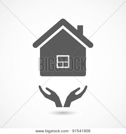 hands support house icon black