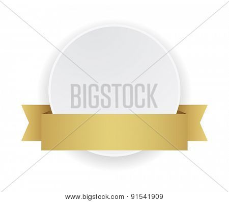 white round banner with gold ribbon
