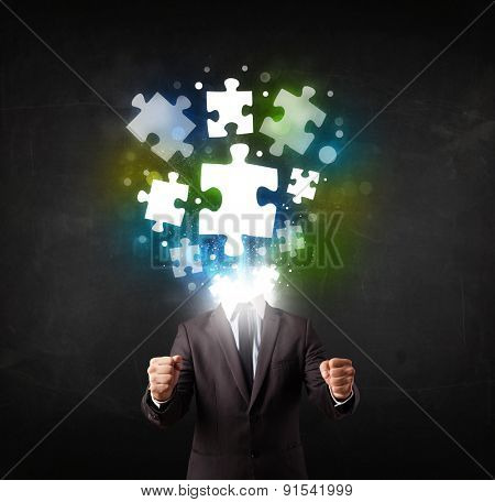 Character in suit with glowing puzzle head concept