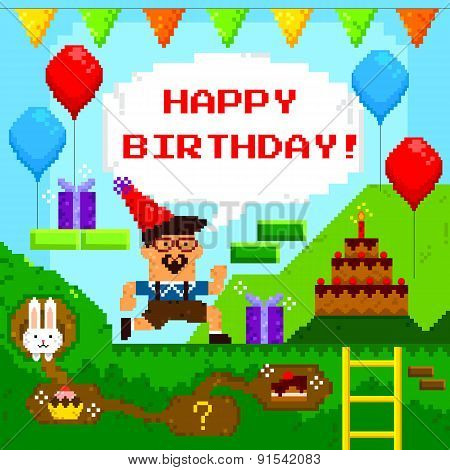 pixel game birthday card