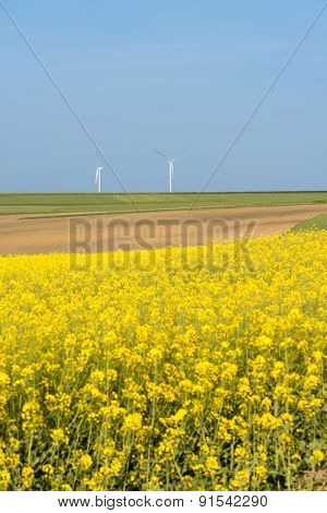 Clean Energy In The Spring On Polish Countryside