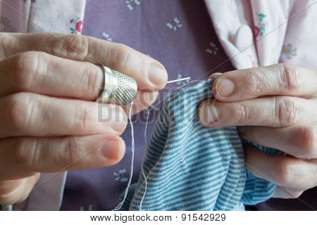 Hemming A Dress, Woman Hands Needlework