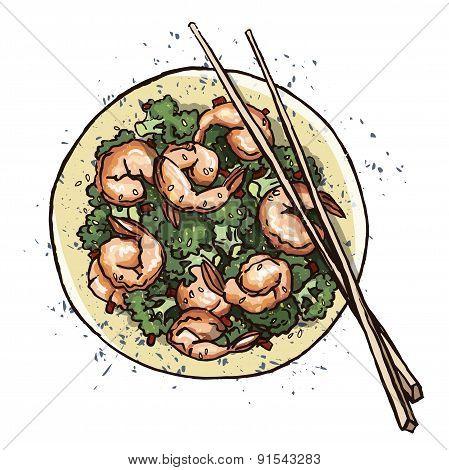 Seafood. Prawn salad. Vector illustration
