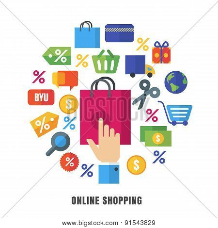 Online Shopping Vector Background. Flat E-commerce Icons And Symbols. Abstract Design Concept For On