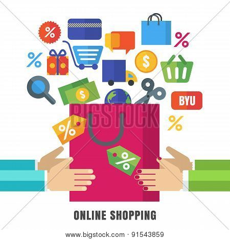 Abstract Vector Background. Hands With Shopping Bag And Flat Icons. Design Concept For Online Shoppi