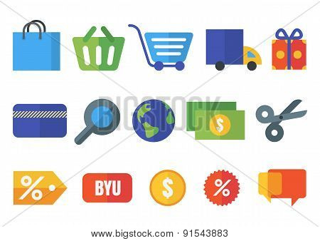 Set Of Vector Flat Shopping Icons. Design Concept For Online Shopping, E-commerce, Store, Customer S