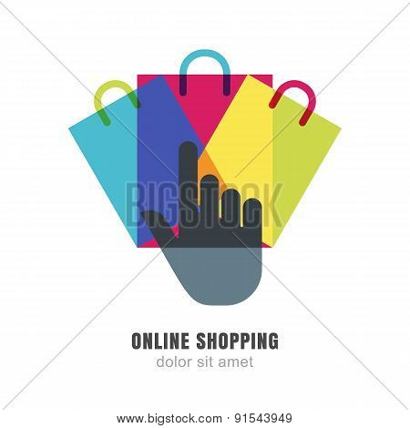 Vector Logo Design Template. Hand Pointer Symbol And Three Multicolor Shopping Bags. Abstract Backgr