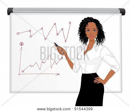 Businesswoman character presentation