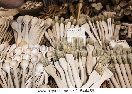 Carved Cups, Spoons, Forks And Other Utensils Of Wood