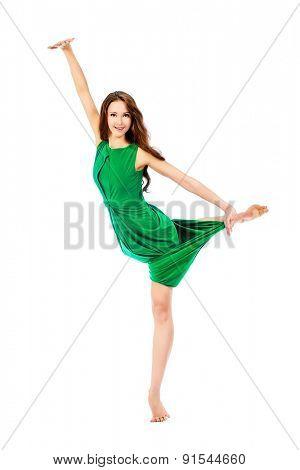Modern ballet dancer dancing at studio. Art concept. Inspiration. Isolated over white.