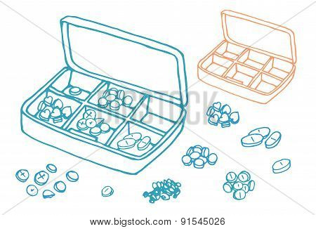 vector Illustration box to pills