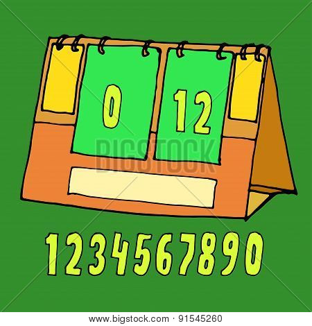 Vector illustration scoreboard drawn by hand
