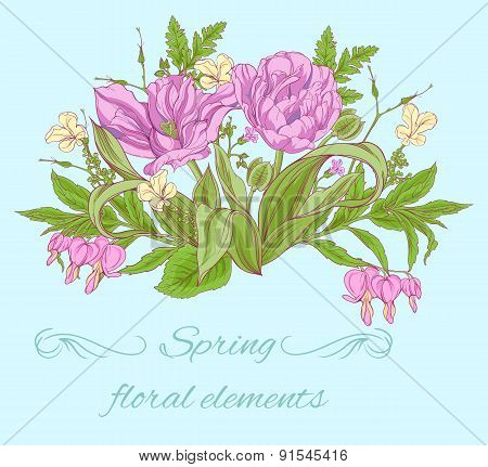 purple tulips with small flowers and leaves