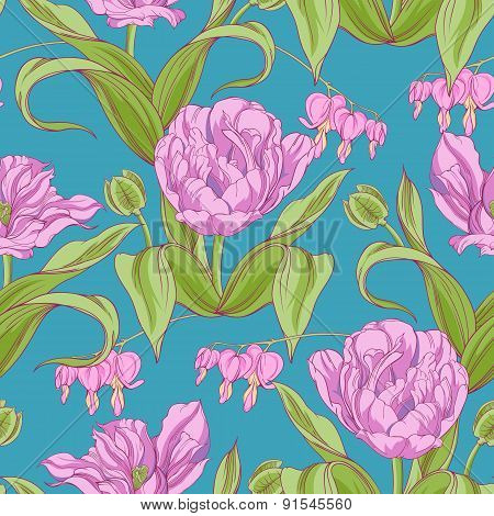 pattern of tulip flowers with leaves
