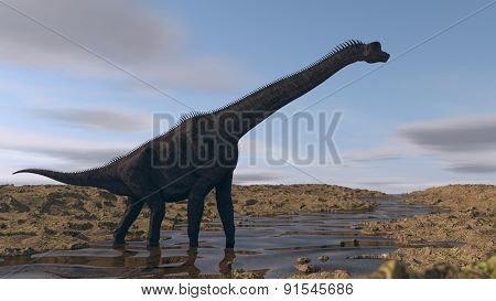 brachiosaurus on river bank