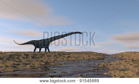 mamenchisaurus walking on river bank