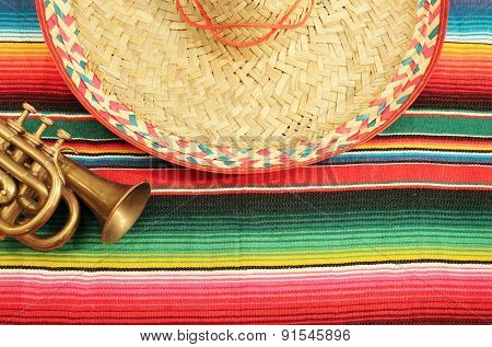 Mexico poncho sombrero background