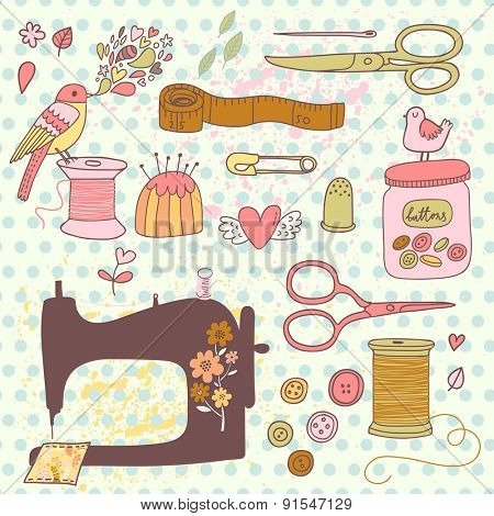 Lovely needlework set in vector. Sweet sewing machine, scissors, sewing and other handicrafts items. Vintage set in cartoon style in awesome colors
